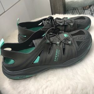 Sperry Shoes - Grey and aqua Sperry top siders sneakers size 9M